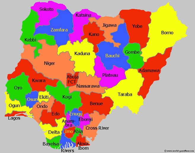 nigeria map by states